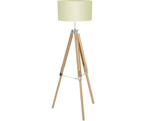 Lampadaire en bois à hauteur ajustable Lantada, Crème, brun