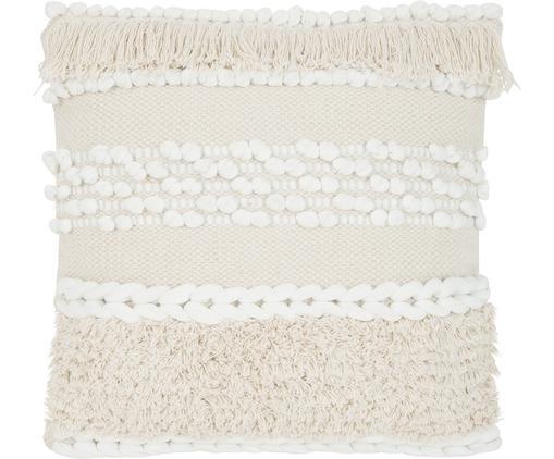 Boho Kissenhülle Anoki in Ecru, 80% Baumwolle, 20% Polyester, Ecru, Weiß, 45 x 45 cm