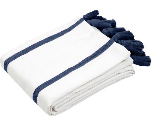 Copriletto Joe, 100% cotone, Bianco crema, navy, Larg. 160 x Lung. 200 cm