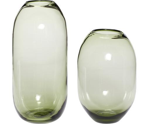 Komplet wazonów ze szkła Setsuna, 2elem., Szkło, Zielony, Różne rozmiary