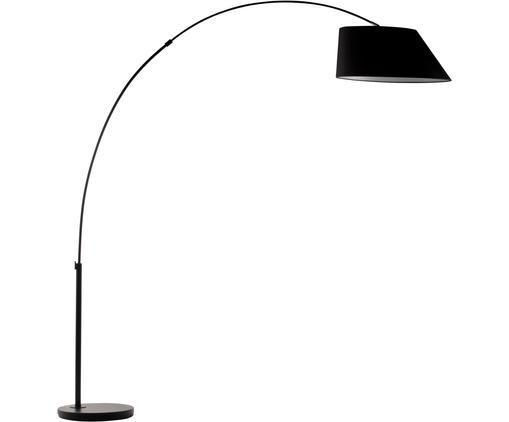 XL-Bogenstehleuchte Arc in Schwarz, Lampenfuß: Metall, pulverbeschichtet, Lampenschirm: Polyester, Schwarz, 210 x 235 cm