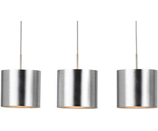 Lampada a sospensione Saganto, Paralume: materiale sintetico, Baldacchino: acciaio nichelato, Argento, Larg. 103 x Alt. 110 cm