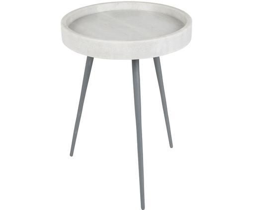 Runder Marmor-Beistelltisch Karrara, Tischplatte: Marmor, Beine: Metall, pulverbeschichtet, Weiß, Grau, Ø 33 x H 45 cm
