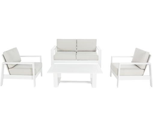 Garten-Lounge-Set Atlantic, 4-tlg., Gestell: Aluminium, pulverbeschich, Bezug: Polyester, Weiß, Hellgrau, Sondergrößen