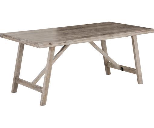 Tavolo da pranzo in legno massiccio Memphis, Legno di mango massiccio, verniciato, Legno di mango, bianco lavato, Larg. 180 x Alt. 76 cm