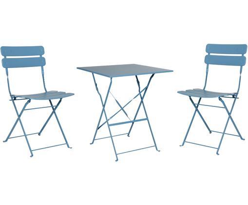 Komplet mebli ogrodowych Esino, 3-elem., Stal lakierowana, Niebieski, Różne rozmiary