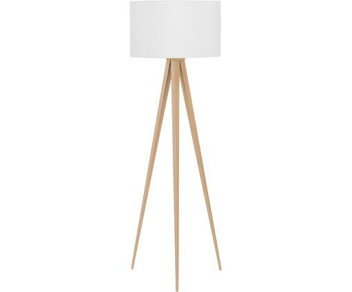 Stehlampe Jake, Lampenschirm: Baumwolle, Lampenfuß: Metall mit Echtholzfurnie, Lampenschirm: WeißLampenfuß: Holzfurnier, ∅ 50 x H 154 cm