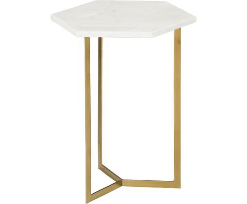 Stolik pomocniczy z marmuru Vince, Blat: marmur naturalny, Stelaż: metal powlekany, Blat: białoszary marmur Stelaż: odcienie złotego, błyszczący, S 40 x W 50 cm
