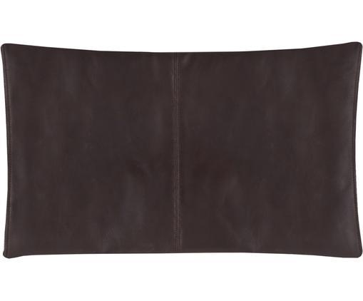 Leder-Kissenhülle Elegance in Dunkelbraun mit Ziernaht, Dunkelbraun, 30 x 50 cm