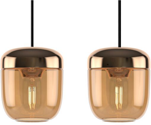 Lámpara de techo pequeña Cannonball Acorn, Anclaje: silicona, Cable: cubierto en tela, Bronce, ámbar, Ø 14 x Al 16 cm