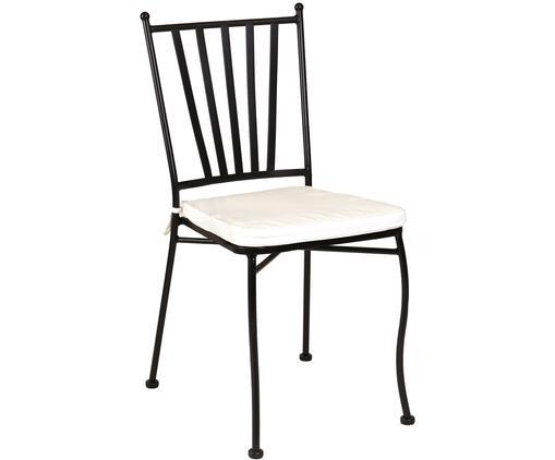 Outdoor stoel Helen, Frame: gepoedercoat metaal, Zwart, wit, B 41 x D 53 cm