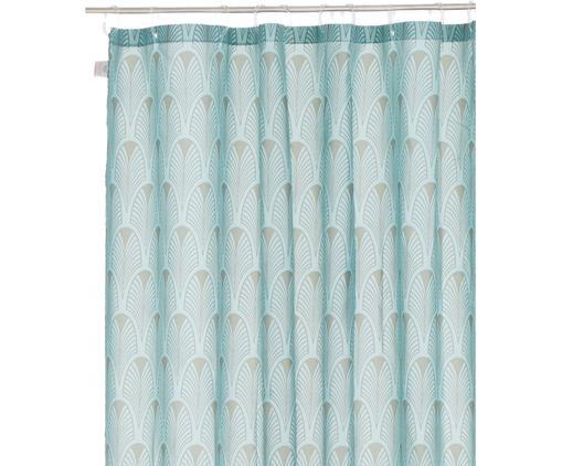 Duschvorhang Ashville mit Art Deco Muster, Polyester, digital bedruckt Wasserabweisend, nicht wasserdicht, Mintblau, Grau, 180 x 200 cm