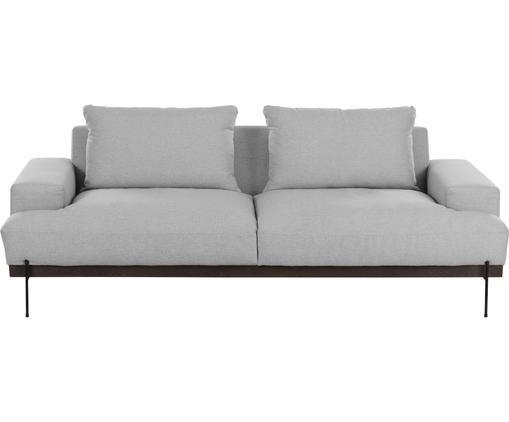 Sofa Brooks (3-Sitzer), Bezug: Polyester 35.000 Scheuert, Gestell: Kiefernholz, massiv, Rahmen: Kiefernholz, lackiert, Füße: Metall, pulverbeschichtet, Webstoff Grau, 230 x 75 cm