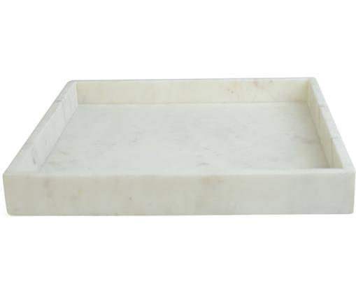 Plateau décoratif en marbre Ciaran, Blanc, marbré