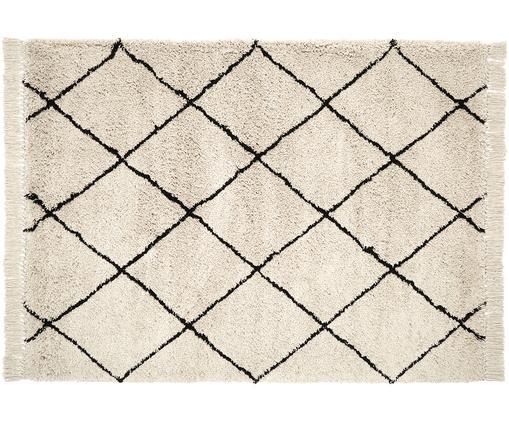 Handgetuft vloerkleed Naima met franjes, Bovenzijde: polyester, Onderzijde: katoen, Beige, zwart, B 120 x L 180 cm (maat S)