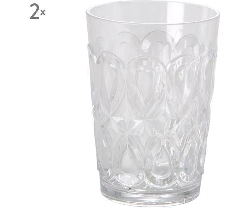 Bicchiere acqua in acrilico Swirly 2 pz, Vetro acrilico, Trasparente, Ø 9 x A 12 cm