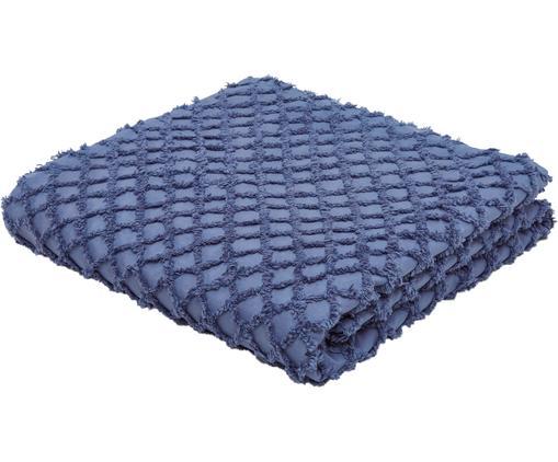 Copriletto in cotone con modello a rilievo Royal, Cotone, Blu, Larg. 180 x Lung. 260 cm