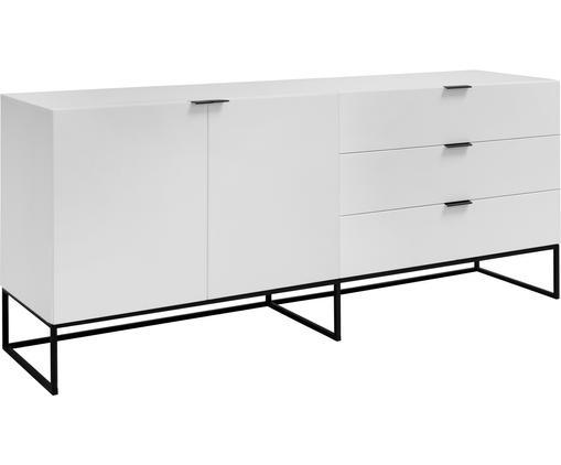 Wit dressoir Kobe met lades, Frame en voorzijde: semi-mat wit. Poten en handvatten: zwart, 180 x 80 cm