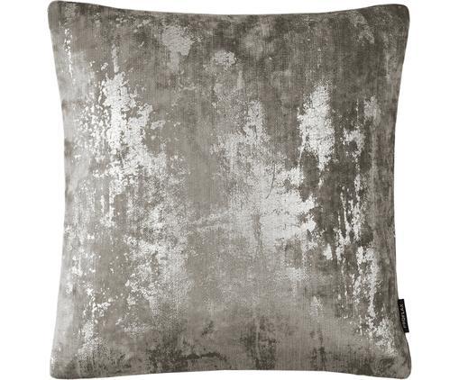 Samt-Kissenhülle Shiny mit schimmerndem Vintage Muster, Polyestersamt, Grau, 40 x 40 cm