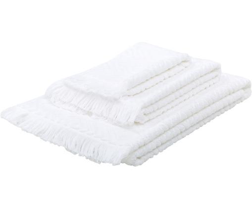 Set asciugamani Jacqui, 3 pz., 100% cotone, qualità media 490 g/m², Bianco, Diverse dimensioni