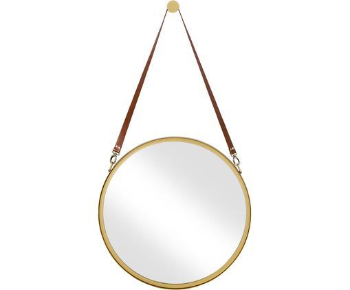 Runder Wandspiegel Liz mit brauner Lederschlaufe, Spiegelfläche: Spiegelglas, Gold, Ø 60 cm