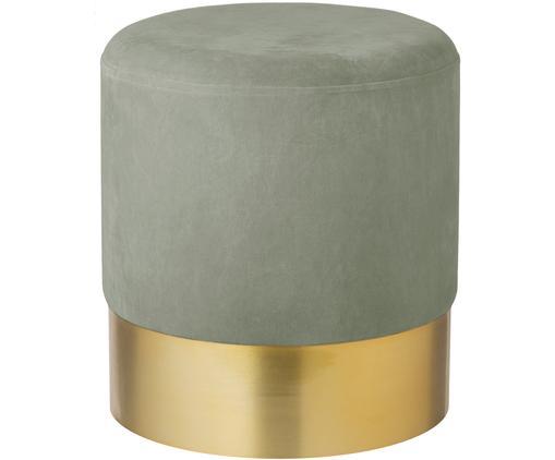 Pouf in velluto Harlow, Rivestimento: velluto, Verde salvia, dorato, Ø 38 x Alt. 42 cm