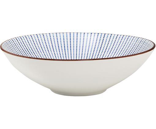 Servierschale Dim Sum, Keramik, Blau, Weiß, Braun, Ø 18 x H 6 cm