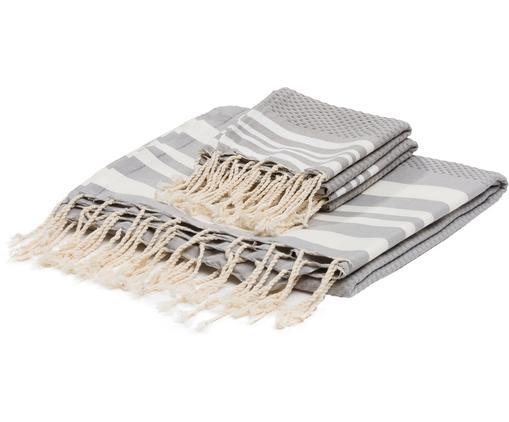 Set di 3 asciugamani Hamptons, Cotone Qualità molto leggera, 200g/m², Grigio perlato, bianco, Diverse dimensioni