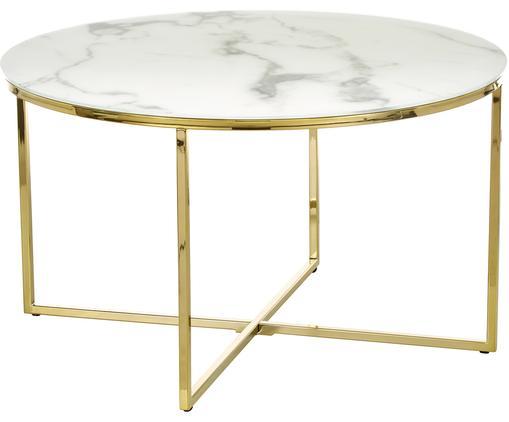 Konferenční stolek smramorovanou skleněnou deskou Antigua, Deska stolu: bílá, mramorová Rám: mosazná