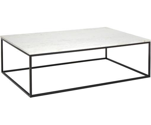 Tavolino da salotto in marmo Alys, Piano d'appoggio: pietra naturale di marmo, Struttura: metallo verniciato a polv, Marmo bianco, nero, Larg. 120 x Prof. 75 cm
