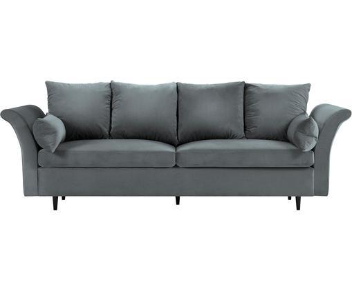 Sofa rozkładana z aksamitu Lola (3-osobowa), Tapicerka: aksamit poliestrowy, Nogi: drewno sosnowe, lakierowa, Ciemny szary, S 245 x G 95 cm