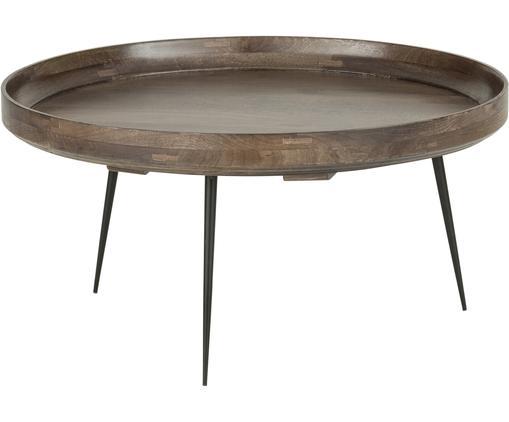 Design-Couchtisch Bowl Table aus Mangoholz, Tischplatte: Mangoholz, gebeizt, Beine: Stahl, pulverbeschichtet, Graubraun, Ø 75 x H 38 cm