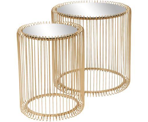 Komplet stolików pomocniczych z metalu ze szklanym blatem Wire, 2 elem., Stelaż: metal malowany proszkowo, Blat: szkło hartowane foliowane, Odcienie mosiądzu, Różne rozmiary