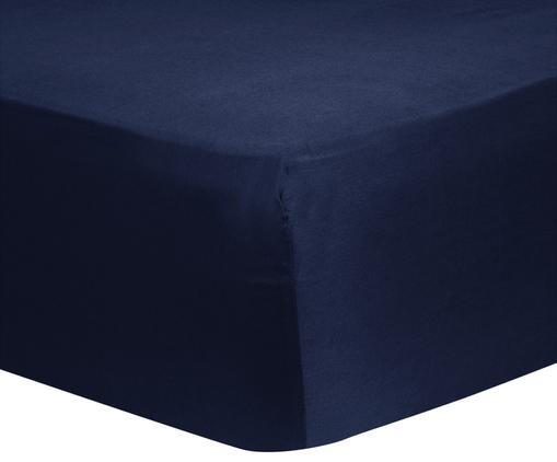 Lenzuolo con angoli in raso di cotone Comfort, Blu scuro, Larg. 140 x Lung. 200 cm