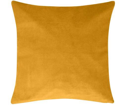 Federa arredo in velluto in giallo ocra Alyson, 100% velluto di cotone, Ocra, Larg. 50 x Lung. 50 cm