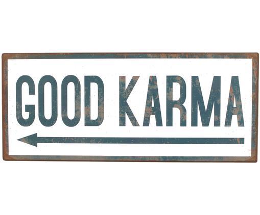 Decorazione da parete Good Karma, Metallo, coperto con una pellicola a motivo, Bianco, blu, Larg. 31 x Alt. 13 cm