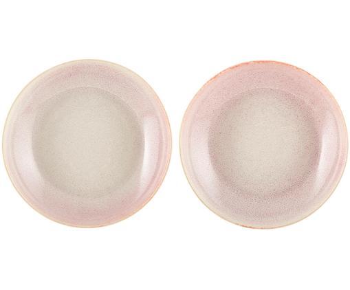 Piatto fondo fatto a mano Amalia 2 pz, Ceramica, Rosa chiaro, bianco crema, Ø 20 cm