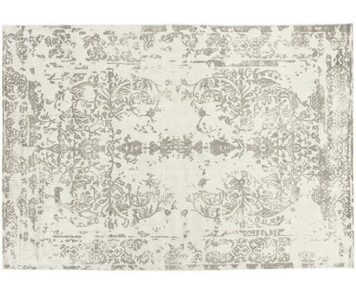 Vintage Teppich Florentine, Wolle/Viskose, Beige, Hellgrau, B 170 x L 240 cm (Größe M)