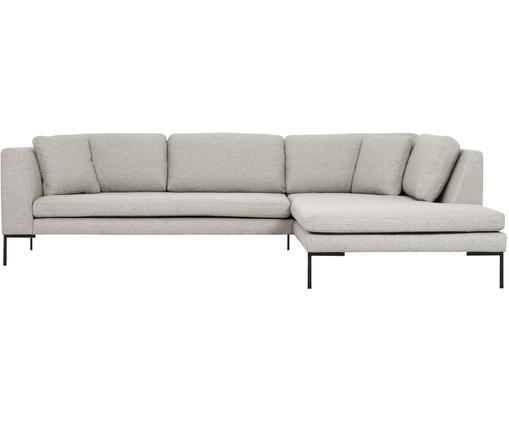 Canapé d'angle Emma, Tissu beige, pieds noirs