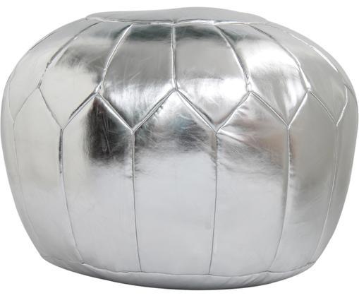 Pouf Moroccan, Hülle: Kunstleder (PVC) in Metal, Silberfarben, Ø 60 x H 35 cm