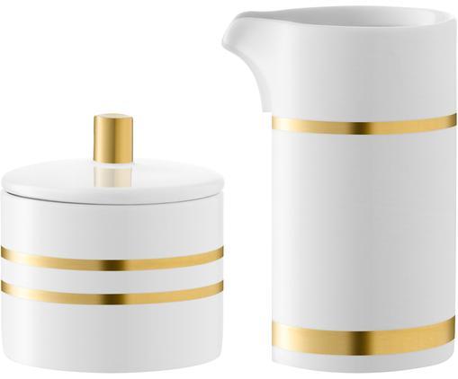 Komplet do mleka i cukru Deco, 2 elem., Porcelana, Biały, odcienie złotego, Różne rozmiary