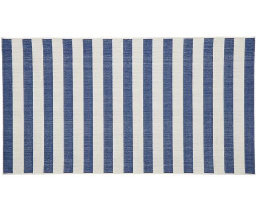 Pruhovaný vnitřní avenkovní koberec Axa, Krémově bílá, modrá