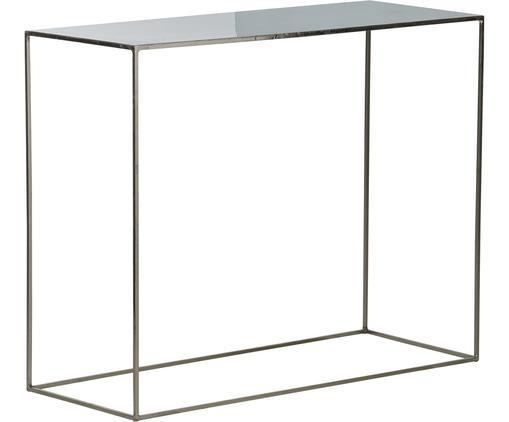 Konsole Freja aus Metall, Gestell: Metall, lackiert, Tischplatte: Metall, emailliert, Gestell: SilberfarbenTischplatte: Graugrün, B 100 x T 40 cm