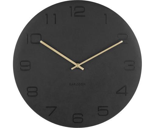 Orologio da parete Vigorous, Quadrante: similpelle, Puntatore: acciaio, rivestito, Nero, dorato, Ø 40 cm