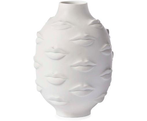 Vaso di design in porcellana Gala, Porcellana, Bianco, Ø 15 x Alt. 25 cm