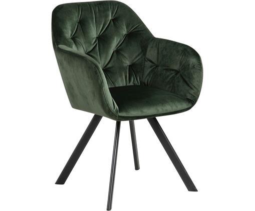 Chaise pivotante à accoudoirs Lucie, Vert forêt, noir