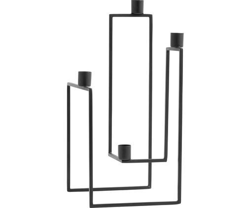 Kerzenhalter Ora, Metall, pulverbeschichtet, Schwarz, 18 x 35 cm