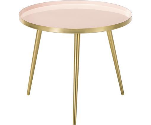 Runder Couchtisch Amalia aus Metall, Tischplatte: , Oberseite: Metall, emailliert, Tischplatte: HellrosaTischbeine: Goldfarben, Ø 50 x H 42 cm