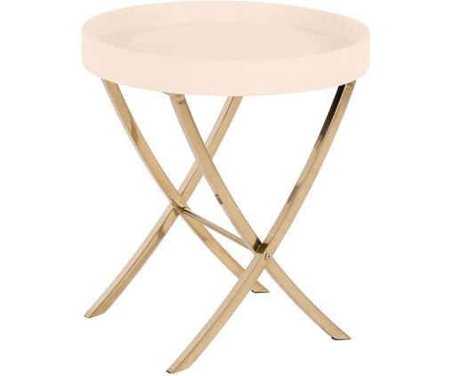 Tablett-Tisch Emma, klappbar, Gestell: Metall, beschichtet, Tablett: Mitteldichte Holzfaserpla, Tablett: BeigeGriffe: Goldfarben, glänzendGestell: Goldfarben, glänzend, ∅ 50 x H 54 cm