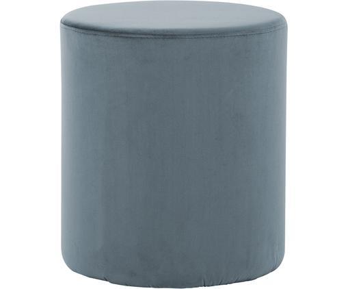 Pouf in velluto Daisy, Rivestimento: velluto (poliestere) 15.0, Struttura: pannello di fibra a media, Grigio blu, Ø 38 x Alt. 46 cm